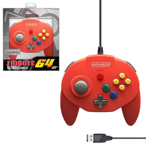 Retro-Bit Tribute64 Red Wired Controller for PC NEW