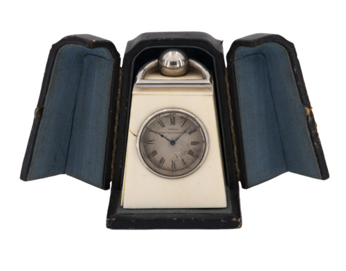 Rare French small petite ivory carriage clock with box, cappuccina officier