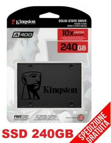 "HARD DISK SSD 2,5"" INTERNO STATO SOLIDO 240GB KINGSTON A400  550/320 MBS/S SATA3"