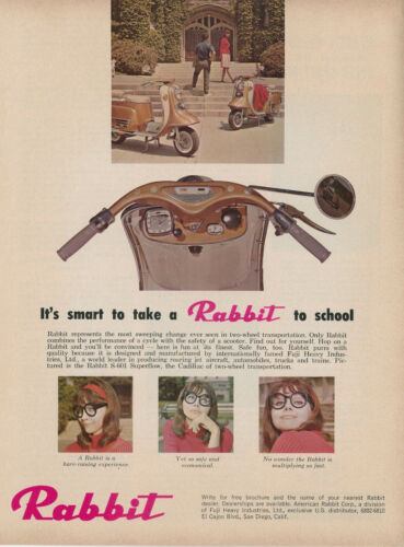 1965 Rabbit Motorscooter Vintage Ad S-601 Superflow Scooter Moped Take to School