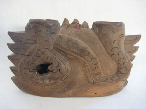 "Vintage Hand Carved Chinese Wooden Dragon Hanging Bell, 11"" W X 6 1/2"" H"