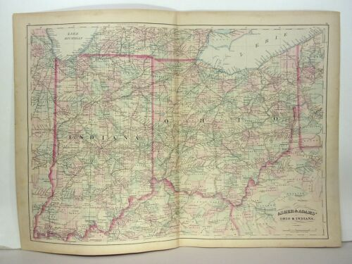 1872 ASHER & ADAMS ATLAS MAP of INDIANA & OHIO WITH 28 GAZETTEER PAGES