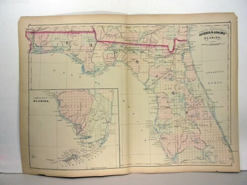 1872 ASHER & ADAMS ATLAS MAP of FLORIDA WITH 2 GAZETTEER PAGES