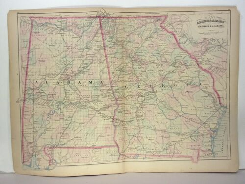 1872 ASHER & ADAMS ATLAS MAP of ALABAMA & GEORGIA WITH 8 GAZETTEER PAGES