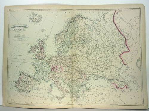 "1872 ASHER & ADAMS ""ATLAS MAP of EUROPE"""