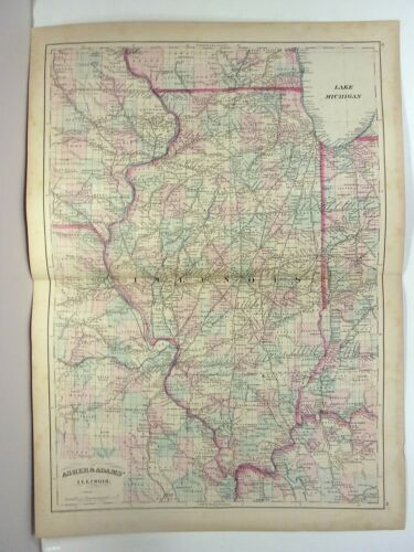 1872 ASHER & ADAMS ATLAS MAP of ILLINOIS WITH 12 GAZETTEER PAGES