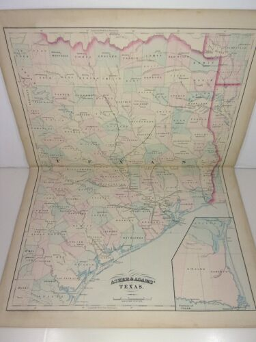 1872 ASHER & ADAMS ATLAS MAP of TEXAS WITH 4 GAZETTEER PAGES