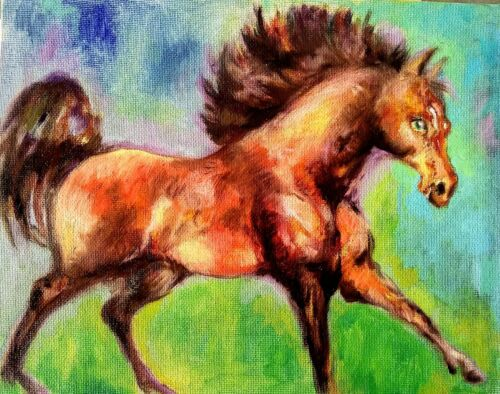 Equestrian horse running  art,Original watercolor painting,equine equestrian
