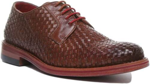 Justin Reece Torin Mens Woven Leather Formal Shoes In Brown UK Sizes 6 - 12