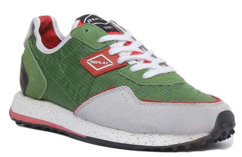 Replay Tag81 Mens Casual Runinng Trainer  In Green Size UK 6 - 12
