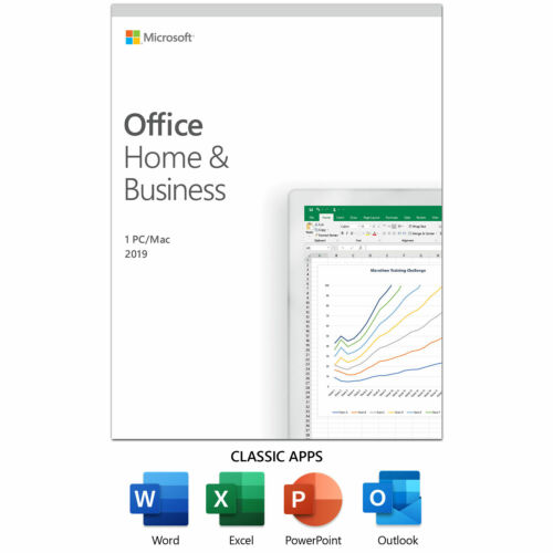 Microsoft Office 2019 Home and Business For Windows and Mac Retail Box