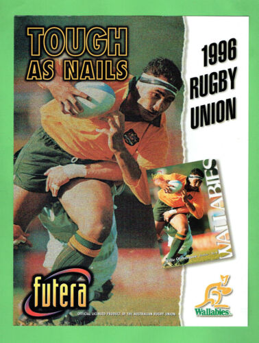 #T326, 1996 RUGBY UNION FUTERA  TRADING  CARD PROMOTIONAL SHEETRugby Union Cards - 2969
