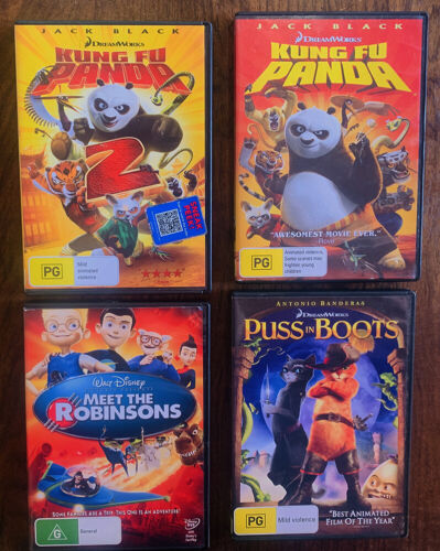 Kids DVD Lot Kung Fu Panda 1 + 2, Meet The Robinsons and Puss in Boots  EC