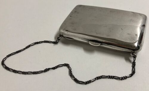 Antique BIRKS Sterling Silver Cigarette or Card Case Purse with Chain
