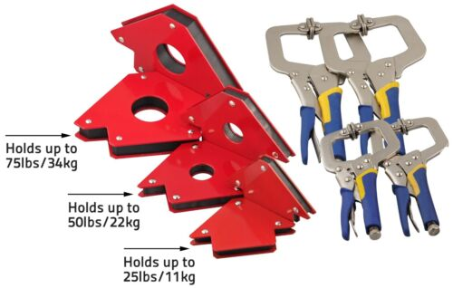 2pc 11 or 6'' C Clamps + 2pc 75 50 or 25lb Sets Magnetic Welding Holders Magnet