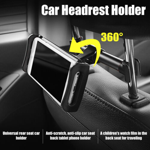 Car Seat Back Headrest Mount Holder Fr 4-11in Phone Tablet iPad Mini GPS Bracket