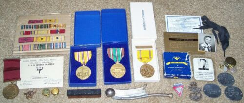AMAZING ORIGINAL NAMED WW2 U.S. NAVY CBM GROUPING: MEDALS, DOG TAGS, RIBBONS ETCMedals & Ribbons - 4724