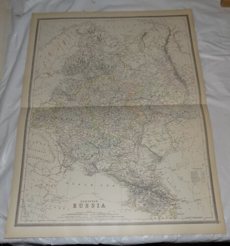 1884 Large Antique COLOR Bradley Map of EUROPEAN RUSSIA