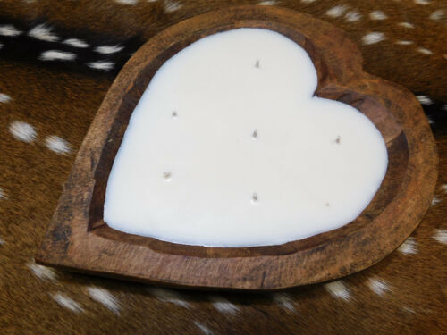 Carved Wooden Heart Dough Bowl Soy Wax Candle Scented LEMONGRASS SAGE Wood 2 LB