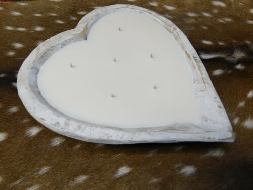 Carved Wooden Heart Dough Bowl Soy Wax Candle Scented WHITE BIRCH TRENCHER 3LB
