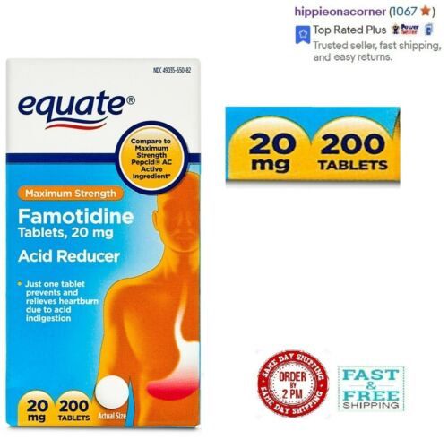 Equate Maximum Strength Acid Reducer Famotidine 20 mg, 200 tablets. Exp: 02/2022 <br/> PRICE INCLUDES FREE and FAST SHIPPING in sturdy boxes.