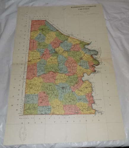 c.1900 Antique COLOR Map of WASHINGTON AND GREENE COUNTIES, PA