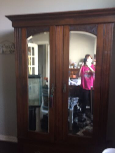 Large Vintage Clothes Armoire With Mirror