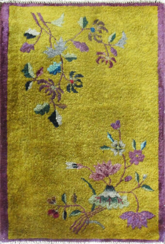 """Antique Art Deco Chinese Rug 2' x 2'10"""" Gold, #17131"""