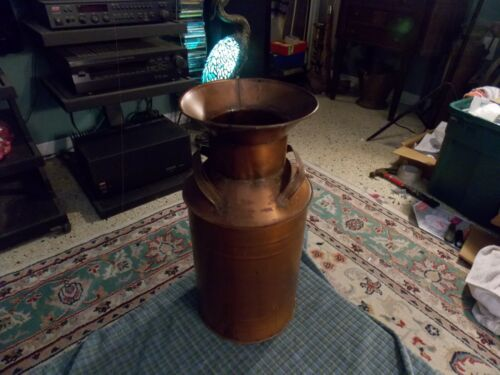 "Replica ANTIQUE MILK CAN W/ PAINTED COPPER PATINA FINISH 11 3/4"" Made In Mexico"
