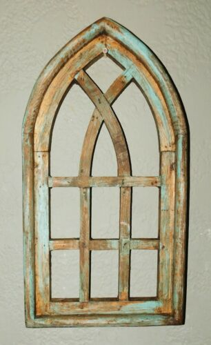 """Wooden Antique Style Church WINDOW Frame Primitive Wood Gothic 18 3/4"""" GREEN"""