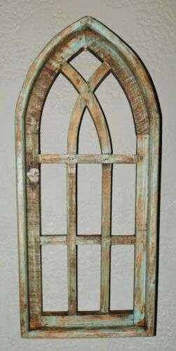 """Wooden Antique Style Church WINDOW Frame Primitive Wood Gothic 22 1/2"""" GREEN"""