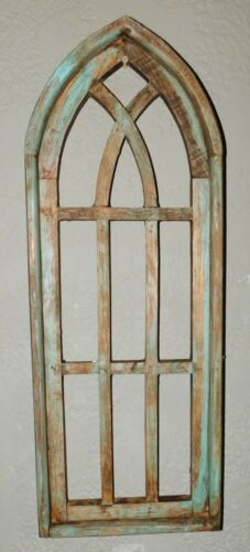 """Wooden Antique Style Church WINDOW Frame Primitive Wood Gothic 27"""" GREEN"""