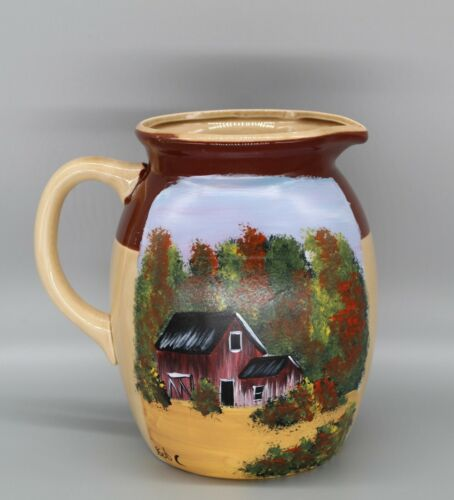 Ceramic pitcher with hand painted fall barn scene (2020062710)