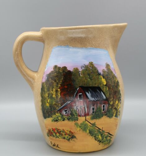 Ceramic pitcher with hand painted fall barn scene (2020062711)