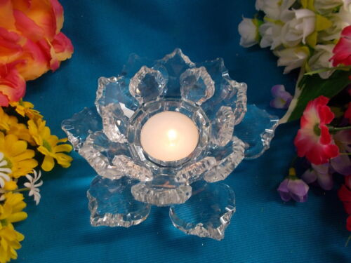 LOVELY GLASS CANDLE HOLDER - FLOWER DESIGN - 14 cm W - EXC COND # 120