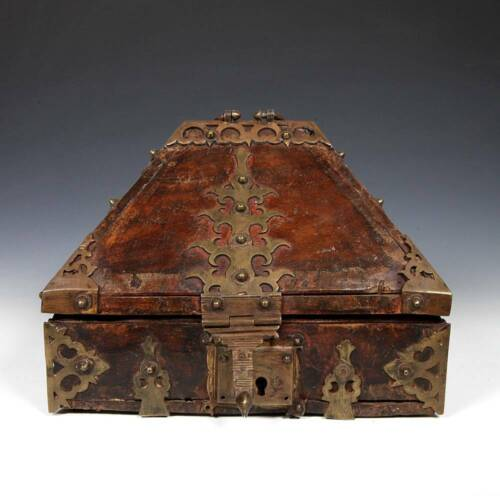 ANTIQUE CATHEDRAL LIDDED HINGED DOWRY BOX WOOD BRONZE MOUNTS INDIA 19TH C.