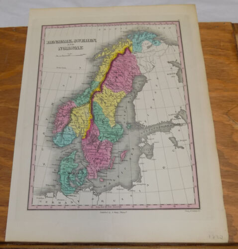 1827 Antique COLOR Finley Map of DENMARK, SWEDEN, AND NORWAY