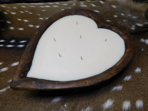 Carved Wooden Heart Dough Bowl Soy Wax Candle Scented BLUEBERRY COBBLER 3 LB