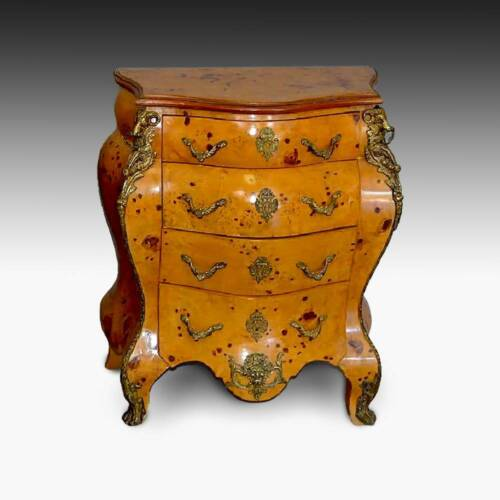 BOMBAY CHEST WITH GILT METAL HARDWARE OLIVE WOOD ITALY LATE 19TH C.