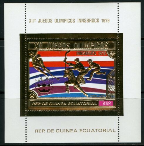 Guinea Equatoriale 1975Winter Olympic Games Innsbruck HOCKEY Gold foil Block 161