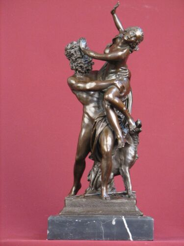 BRONZE STATUE ROMAN MYTHOLOGY NUDE HIGHLY DETAILED SCULPTURE ON MARBLE BASE