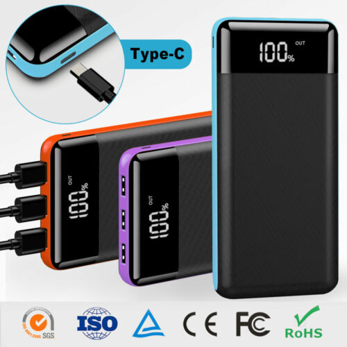 500000mAh Portable Power Bank 3USB LCD External Battery Charger For Cell Phone