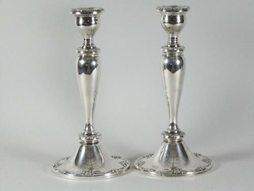 "Stunning Pair of 10"" Gorham MELROSE Pattern 1381 Sterling Silver Candlesticks"