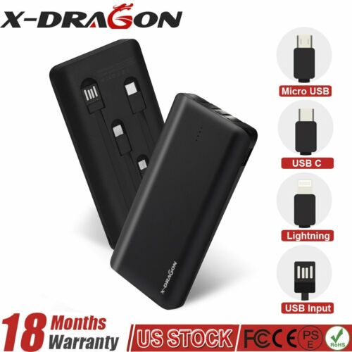 500000mAh Power Bank Portable External Battery Case Charger Built-in Cables USA