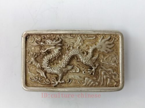 Collection Old Chinese Tibet Silver Carving Dragon Belt Fastener Decoration Gift