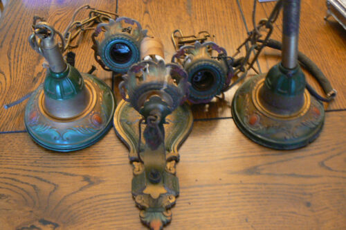 3 Pieces Ampinco Antique Art Nouveau Tin Hanging Light Fixtures Sconce