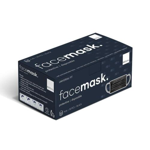 4ply Protective Black Disposable Face Mask 50 Pack Nose Adaptable Universal Fit