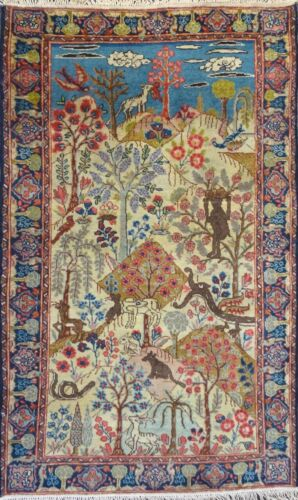"""Stunning C 1900 Antique Hand Knotted Exquisite Rug 2' 9"""" x 4' 5"""""""