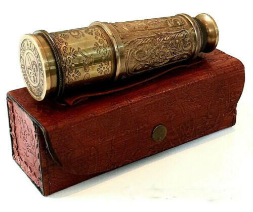 Victorian Old London style nautical brass telescope with leather box home decor