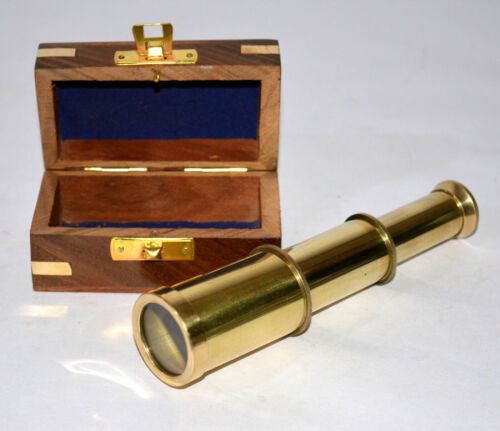 Sailor Pirate Shiny brass marine telescope with wooden box nautical decor gifts